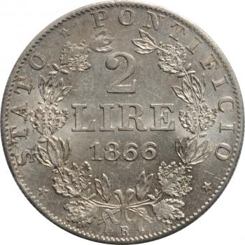 """Папская область 2 лиры 1866 г. R,  UNC, """"Папа Пий IX (1846 - 1878)"""""""
