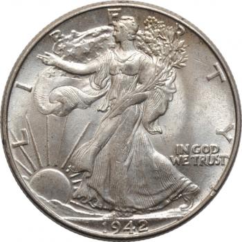 """США 50 центов 1942 г., BU, """"Walking Liberty Half Dollar"""""""
