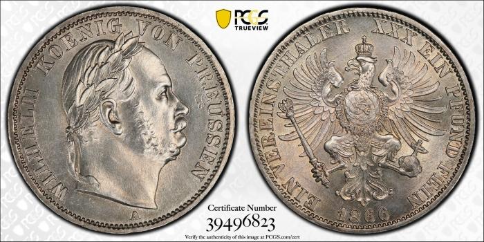 """Пруссия 1 союзный талер 1866 г., PCGS MS63, """"Победа в Австро-прусско-итальянской войне"""""""