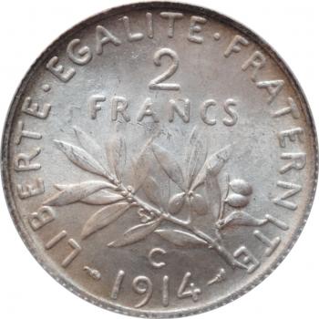 "Франция 2 франка 1914 г. C, ANACS MS64, ""Третья Республика (1870 - 1941)"""