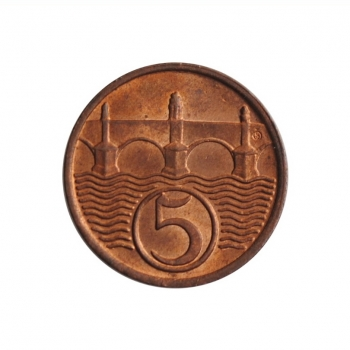 """Чехословакия 5 геллеров 1938 г., BU, """"Первая Республика (1919 - 1938)"""""""