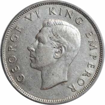 "Новая Зеландия 1/2 кроны 1937 г., XF, ""Король Георг VI (1937 - 1952)"""