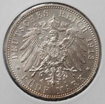 Пруссия 5 марок 1913 г., XF-UNC, '25 лет правления Вильгельма ІІ'