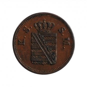 """Саксония 2 пфеннига 1859 г., AU, """"Король Иоганн (1854 - 1873)"""""""