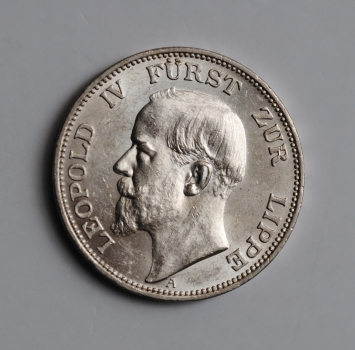 "Липпе 3 марки 1913 г., UNC, ""Князь Леопольд IV (1905 - 1918)"""