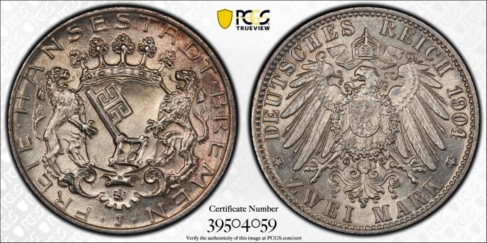 "Бремен 2 марки 1904 г., PCGS MS64, ""Ганзейский город Бремен (1871 - 1918)"""