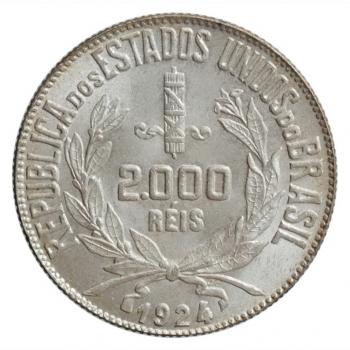 """Бразилия 2000 рейсов 1924 г., UNC, """"Первая Республика (1889 - 1942)"""""""