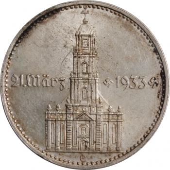 """Германия - Третий рейх 2 рейхсмарки 1934 г. E, PCGS MS62, """"Гарнизонная церковь в Потсдаме (21 März 1933)"""""""
