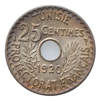"Тунис 25 сантимов AH 1338 (1920 г.), BU, ""Французский протекторат (1890 - 1957)"""