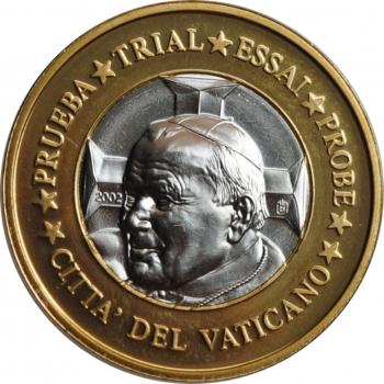 "Ватикан 1 евро 2002 г., UNC ESSAI, ""Папа Иоанн Павел II (2002 - 2005)"""