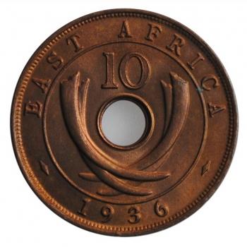 """Британская Восточная Африка 10 центов 1936 г. H, BU, """"Король Эдуард VIII (01-12.1936)"""""""