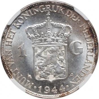 "Нидерланды 1 гульден 1944 г. P, NGC MS64, ""Королева Вильгельмина (1890 - 1948)"""