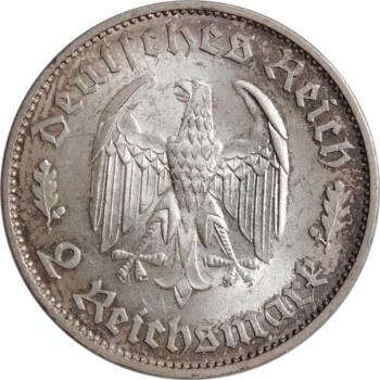 """Германия (Третий рейх) 2 рейхсмарки 1934 г., BU, """"175 лет со дня рождения Фридриха Шиллера"""""""