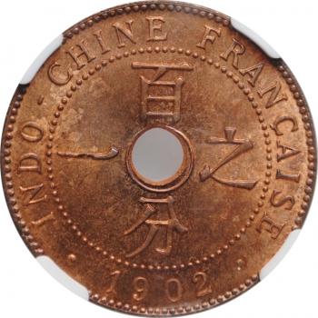 "Индокитай 1 сантим 1902 г. A, NGC MS65 RB, ""Французский Индокитай (1885 - 1954)"""