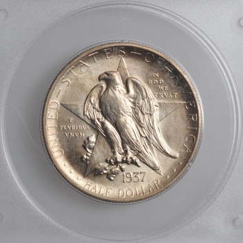 "США 50 центов 1937 г. S, PCGS MS64, ""100 лет штату Техас"""