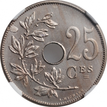 "Бельгия 25 сантимов 1908 г., NGC MS64 MINT ERROR FRENCH, ""Король Леопольд II (1865 - 1909)"""