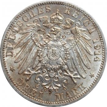 """Баден 3 марки 1914 г., BU, """"Великий герцог Фридрих II (1907 - 1918)"""""""