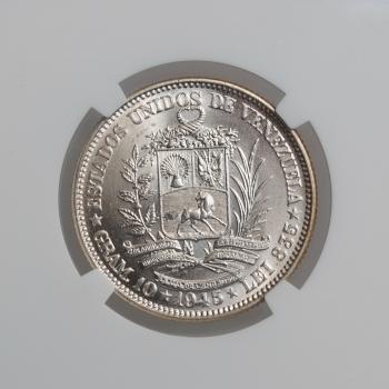 """Венесуэла 2 боливара 1945 г., NGC MS64, """"Соединенные Штаты Венесуэлы (1879 - 1952)"""""""