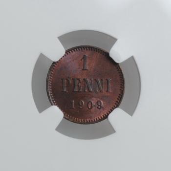 """Финляндия 1 пенни 1909 г., NGC MS64 RB, """"Император Николай II (1895 - 1917)"""""""