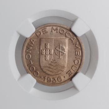 """Мозамбик 50 сентаво 1936 г., NGC MS64, """"Португальская колония (1935 - 1974)"""""""