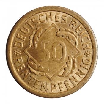 """Германия 50 рентенпфеннигов 1923 г. A, BU, """"Веймарская Республика (Рентенмарка) (1923 - 1929)''"""