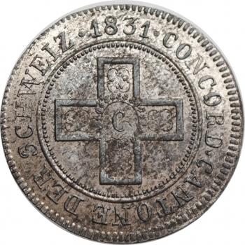 """Швейцарские кантоны 5 раппенов 1831, BU, """"Кантон Фрибур (1804 - 1846)"""""""