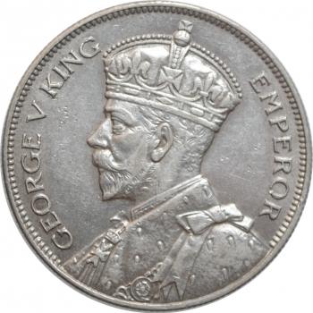 "Новая Зеландия 1/2 кроны 1934 г., XF, ""Король Георг V (1933 - 1936)"""