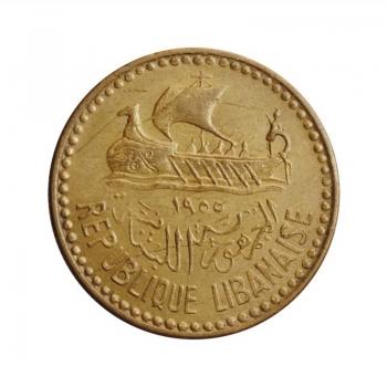 """Ливан 10 пиастров 1955 г., UNC, """"Корабль сверху и дерево справа"""""""
