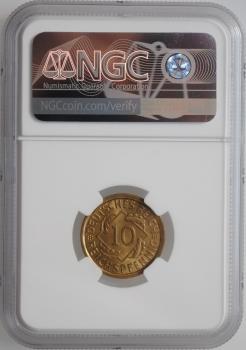 """Германия 10 рейхспфеннигов 1935 J, NGC MS65, """"Веймарская Республика (1923 - 1929)"""""""