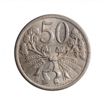 """Чехословакия 50 геллеров 1922 г., BU, """"Первая Республика (1919 - 1938)"""""""