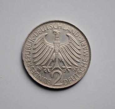 ФРГ 2 марки 1967 г. G, UNC, 'Макс Планк'