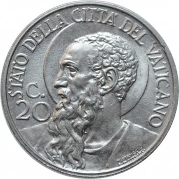 """Ватикан 20 чентезимо 1933-34 г., BU, """"Папа Пий XI (1929 - 1938)"""""""