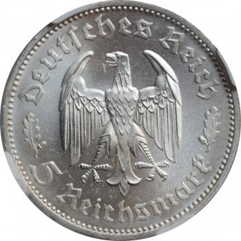 """Германия - Третий рейх 5 рейхсмарок 1934 г., NGC MS63, """"175 лет со дня рождения Фридриха Шиллера"""""""