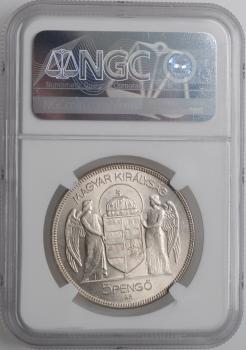 """Венгрия 5 пенго 1930 г., NGC MS62, """"10 лет регенства Адмирала Хорти"""""""