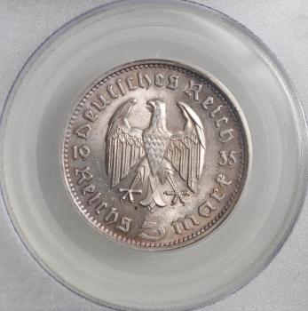 """Германия 5 рейхсмарок 1935 г. F, PCGS MS63, """"Нацистская Германия (1933 - 1945)"""""""