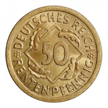 """Германия 50 рентенпфеннигов 1924 г. A, BU, """"Веймарская Республика (Рентенмарка) (1923 - 1929)'' (02)"""