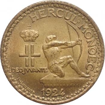 """Монако 1 франк 1924 г., UNC, """"Князь Луи II (1922 - 1949)"""""""