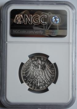 Саксония 2 марки 1909 г., NGC MS64, '500 лет Лейпцигскому университету'