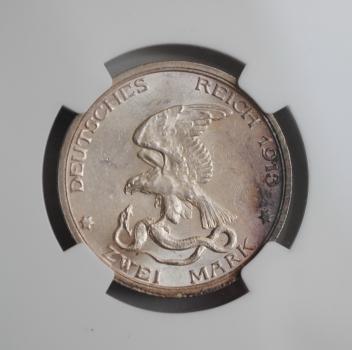 Пруссия 2 марки 1913 г., NGC MS63, '100 лет объявлению войны против Франции'