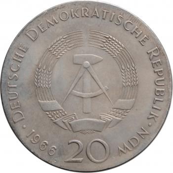 """ГДР 20 марок 1966 г., UNC, """"250 лет со дня смерти Готфрида Вильгельма Лейбница"""""""