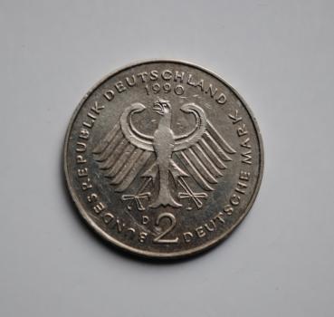 ФРГ 2 марки 1990 г. D, 'Франц Йозеф Штраус, 40 лет Федеративной Республике (1949-1989)'