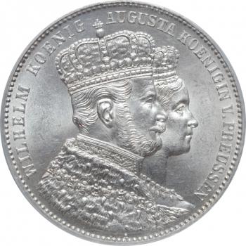 "Пруссия 1 талер 1861 г., PCGS MS63, ""Коронация Вильгельма I и Августы"""