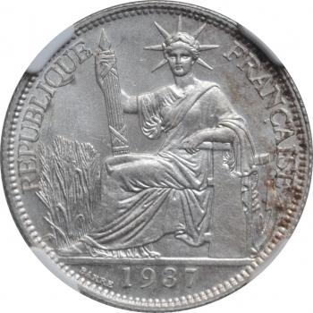 "Индокитай 20 сантимов 1937 г., NGC MS64, ""Французский Индокитай (1885 - 1954)"""