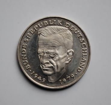 ФРГ 2 марки 1988 г. D, 'Курт Шумахер, 30 лет Федеративной Республике (1949-1979)'