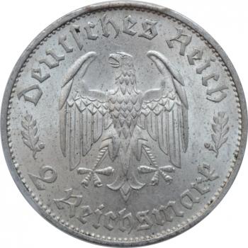 """Германия - Третий рейх 2 рейхсмарки 1934 г., PCGS MS63, """"175 лет со дня рождения Фридриха Шиллера"""""""