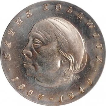 """ГДР 10 марок 1967 г., UNC, """"100 лет со дня рождения Кэте Кольвфиц"""""""