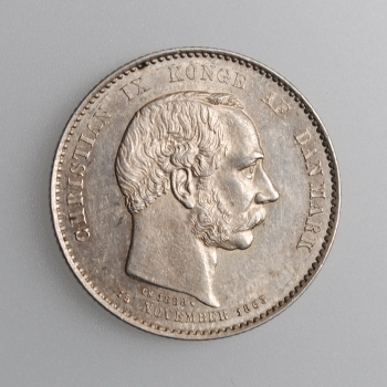 """Дания 2 кроны 1888 г., AU, """"25 лет правления"""""""