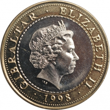 """Гибралтар 2 фунта 1998 г., UNC, """"12 подвигов Геракла - Керинейская лань"""""""