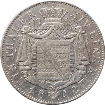 "Саксония 1 талер 1842 г., VF-XF, ""Король Фридрих Август II (1836 - 1854)"""