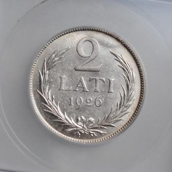 """Латвия 2 лата 1926 г., ICG MS63, """"Первая Республика (1922 - 1940)"""""""